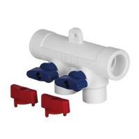 Коллектор PP-R 32-20x4 выхода с шаровыми кранами (красные + синие)