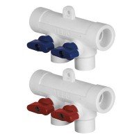 Коллектор PP-R 40-20x5 выхода с шаровыми кранами (красные)