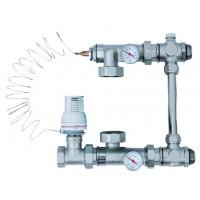 Смесительный узел SM15189 (термометр 2 шт, байпас, шар. кран., термостат. клапан, термоголовка)